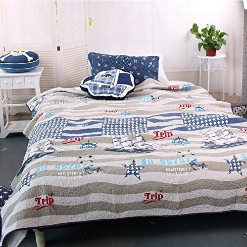 MakeTop-on-the-Trip-Nautical-Theme-Boys-Quilt-Sham-Set-2pc-Twin-0 The Best Nautical Quilts and Nautical Bedding Sets