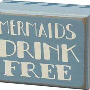 Mermaids-Drink-Free-Vintage-Coastal-Mini-Wood-Box-Sign-4-in-x-3-in-0-300x300 100+ Wooden Beach Signs & Wooden Coastal Signs