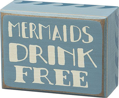 Mermaids-Drink-Free-Vintage-Coastal-Mini-Wood-Box-Sign-4-in-x-3-in-0 Mermaid Home Decor