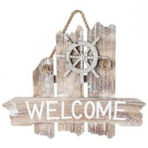Nautical-Welcome-Wood-Wall-Plaque-0-300x300 100+ Wooden Beach Signs & Wooden Coastal Signs