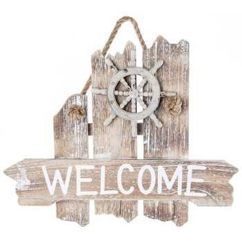 Nautical-Welcome-Wood-Wall-Plaque-0 100+ Wooden Beach Signs and Wooden Coastal Signs