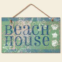 New-Beach-House-Plaque-Coastal-Wall-Decor-Seashell-Sign-0 100+ Wooden Beach Signs and Wooden Coastal Signs