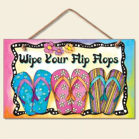 New-Bright-FUN-Wipe-Your-Flip-Flops-Sign-Coastal-Plaque-Tropical-Picture-0-450x450 100+ Wooden Beach Signs and Wooden Coastal Signs