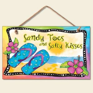 New-Flip-Flops-Wall-Plaque-Beach-Sign-Tropical-Decor-Coastal-ART-Summer-Ocean-0-300x300 100+ Wooden Beach Signs & Wooden Coastal Signs
