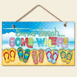 New-Some-Beach-Somewhere-Sign-Flip-Flops-Tropical-Wall-Decor-Coastal-Picture-Art-0-300x300 100+ Wooden Beach Signs & Wooden Coastal Signs