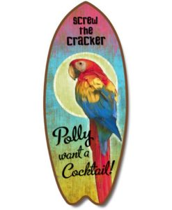 New-Surfboard-Plaque-Polly-Want-Cocktail-Sign-Parrot-Coastal-Wall-Decor-Beach-0