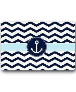 Non-Slip-Rectangle-Navy-Blue-and-White-Chevron-with-Nautical-Anchor-Design-Indoor-and-Outdoor-Entrance-Floor-Mat-Doormat-236L-x-157W-316-Thickness-0