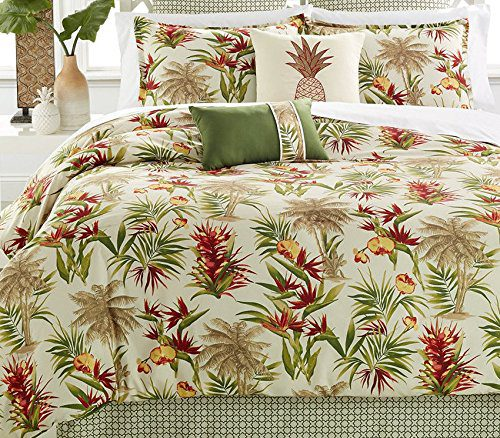Palm-Trees-Tropical-Beach-House-Hawaiian-Queen-Comforter-Set-8-Piece-Bed-In-A-Bag-HOMEMADE-WAX-MELT-0 Hawaii Themed Bedding Sets