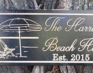 Personalized-Beach-House-Sign-Custom-Carved-Wood-Sign-Beach-Umbrella-0-300x236 100+ Wooden Beach Signs & Wooden Coastal Signs