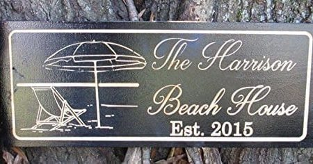 Personalized-Beach-House-Sign-Custom-Carved-Wood-Sign-Beach-Umbrella-0-450x236 100+ Wooden Beach Signs and Wooden Coastal Signs
