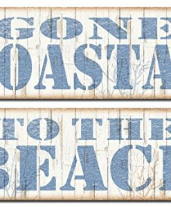 Popular-Beach-Signs-Gone-Coastal-and-To-the-Beach-Nautical-Decor-Two-18x6-Poster-Prints-BrownBlue-0