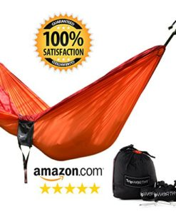 Premium-Outdoor-Hammock-for-Hiking-Camping-Backpacking-More-FREE-Hanging-Straps-Parachute-Nylon-Fabric-Compact-Lightweight-Set-Bag-Stainless-Steel-Carabiner-Rope-and-Tree-Straps-0