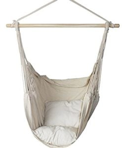 SueSport-New-Hanging-Rope-Hammock-Chair-Porch-Swing-Seat-Sky-Chair-with-cushions-for-Any-Indoor-or-Outdoor-Spaces-Max-265-Lbs-2-Seat-Cushions-Included-0