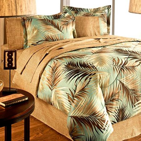 TROPICAL-PALM-TREE-LEAFLEAVES-OCEAN-BEACH-Coastal-Bedding-8-Pieces-Comforter-Set-Bed-in-a-Bag-0-450x450 The Best Palm Tree Bedding and Comforter Sets