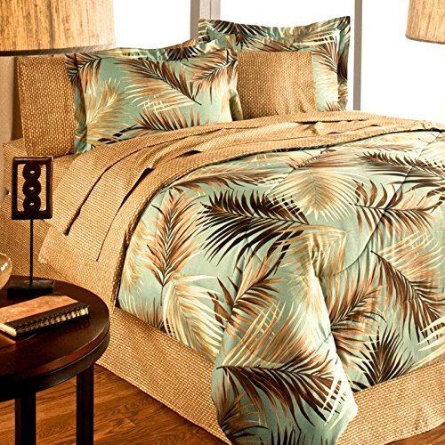 TROPICAL-PALM-TREE-LEAFLEAVES-OCEAN-BEACH-Coastal-Bedding-8-Pieces-Comforter-Set-Bed-in-a-Bag-0 Hawaii Themed Bedding Sets