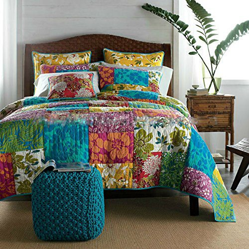 Tache-100-Cotton-3-PC-Colorful-Flower-Power-Party-Patchwork-Quilt-Set-0 Hawaii Themed Bedding Sets