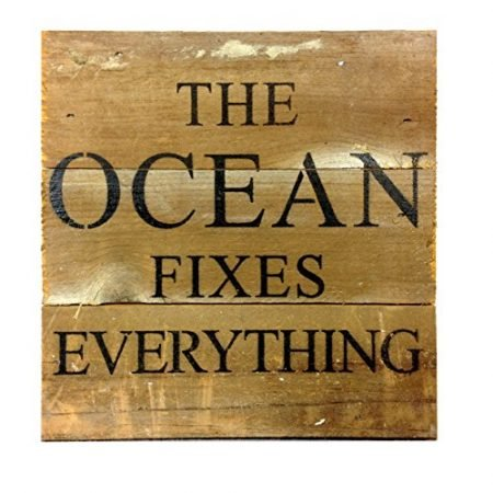 The-Ocean-Fixes-Everything-Reclaimed-Wood-Art-Sign-6-in-x-6-in-0-450x450 100+ Wooden Beach Signs and Wooden Coastal Signs