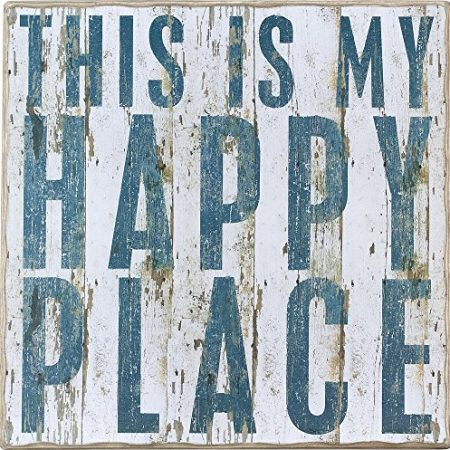 This-Is-My-Happy-Place-Vintage-Plank-Board-Beach-Coastal-Decor-Box-Sign-Jumbo-18-in-x-18-in-0-450x450 100+ Wooden Beach Signs and Wooden Coastal Signs