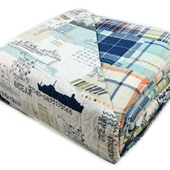 Toddler-Bedding-Cotton-FullQueen-3pc-Quilt-Set-Reversible-Plaid-Nautical-Freighter-Cargo-Ship-Bedding-Quilted-Bedspread-Sail-Away-0-0