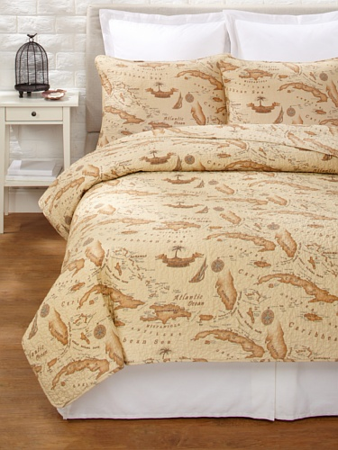 Tommy-Bahama-Map-Quilt-Set-0 The Best Nautical Quilts and Nautical Bedding Sets