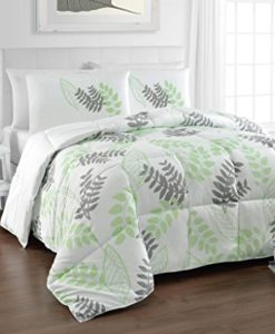 Tropical-Reversible-Down-Alternative-Charcoal-Grey-Green-White-Natural-Leaf-Print-Comforter-Set-by-Cozy-Beddings-0-247x300 The Best Palm Tree Comforter and Bedding Sets