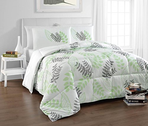 Tropical-Reversible-Down-Alternative-Charcoal-Grey-Green-White-Natural-Leaf-Print-Comforter-Set-by-Cozy-Beddings-0 Hawaii Themed Bedding Sets
