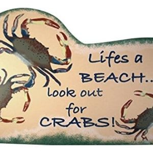 Tropical-Tiki-Lifes-A-Beach-Crab-Wood-Sign-Plaque-0-300x300 100+ Wooden Beach Signs & Wooden Coastal Signs