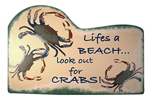 Tropical-Tiki-Lifes-A-Beach-Crab-Wood-Sign-Plaque-0 100+ Wooden Beach Signs and Wooden Coastal Signs