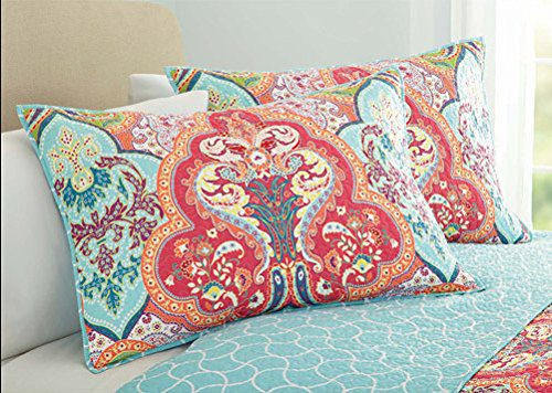 Turquoise Amp Coral Tropical Beach Quilt Set