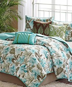 Turquoise-Tropical-Palm-Leaf-Beach-House-Theme-California-Cal-King-Quilt-Shams-Toss-Pillows-6-Piece-Bed-In-A-Bag-0-247x300 The Best Palm Tree Comforter and Bedding Sets