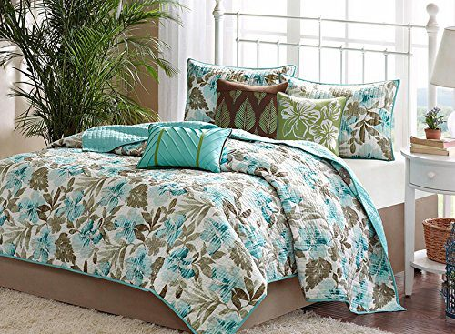 Turquoise-Tropical-Palm-Leaf-Beach-House-Theme-California-Cal-King-Quilt-Shams-Toss-Pillows-6-Piece-Bed-In-A-Bag-0 Hawaii Themed Bedding Sets