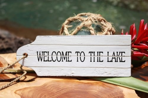 Welcome-To-The-Lake-Door-Tag-Wood-Sign-8-Rustic-Coastal-0 100+ Wooden Beach Signs and Wooden Coastal Signs