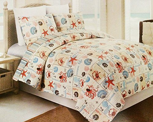 Western-Peak-3-Piece-Coastal-Beach-Tropical-Ocean-Aqua-Coral-Starfish-Sea-Shell-Quilt-Set-0 The Best Nautical Quilts and Nautical Bedding Sets