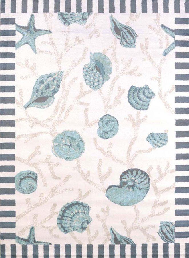 variety of seashells area rug