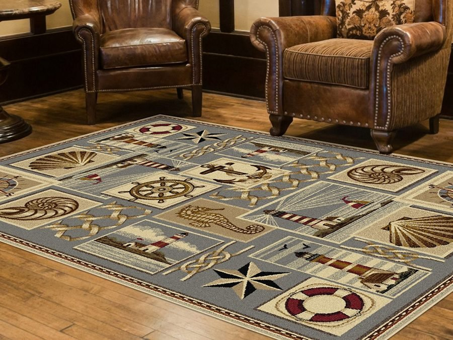 Beautiful nautical area rugs beachfront decor for Living room rugs 9x12