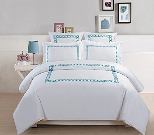 5 Piece Hotel Collection Cotton Embroidered Duvet Cover Set Beachfront Decor