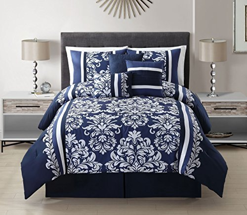 7 Piece Taylor Navy White Comforter Set Beachfront Decor