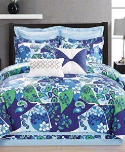 8-Piece-Paisley-BlueGreenWhite-Comforter-Set-0