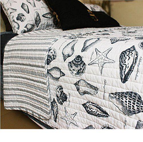 Brandream Seashells Beach Themed Nautical Bedding Queen Comforter  ...