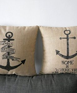 Decorbox-2-Pieces-Decorative-Cotton-Linen-Square-Throw-Pillow-Case-Cushion-Cover-Throw-Pillow-Shell-Pillowcase-Retro-Anchor-18-X18-0-247x300 The Best Nautical Pillows and Throw Pillows