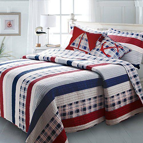 Greenland-Home-Nautical-Stripes-Bonus-Quilt-Set-0 The Best Nautical Quilts and Nautical Bedding Sets
