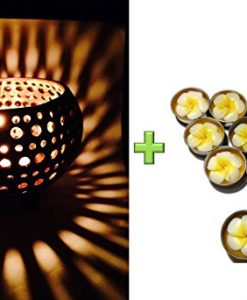 Lovely-Coconut-Shell-w-Free-Tea-Light-with-Fragrant-Flower-Candle-Candle-Holder-Genuinely-Handmade-for-Home-Room-Patio-Party-Decor-0