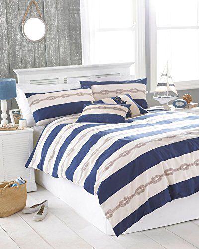 NAUTICAL-KNOT-NAVY-BLUE-CREAM-USA-QUEEN-SIZE-230CM-X-220CM-UK-KING-SIZE-COTTON-BLEND-COMFORTER-COVER-SET-0 The Best Nautical Quilts and Nautical Bedding Sets