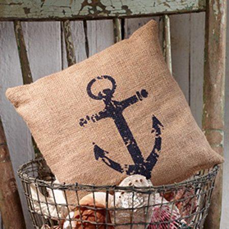 Nautical-Ships-Anchor-Burlap-Accent-Pillow-8-in-x-8-in-0-450x450 Nautical Anchor Decor