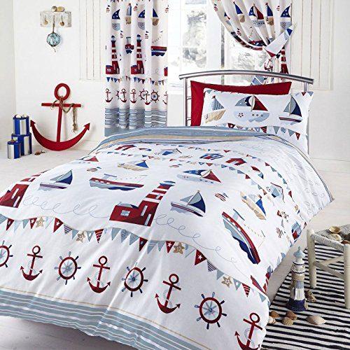 Nautical-SingleUS-Twin-Duvet-Pillowcase-Set-White-0