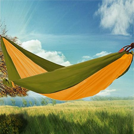 RioRand 2-Person Camping Parachute Hammock, Army Green/Yellow
