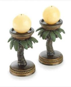 Set-Of-2-Coconut-Palm-Tree-Tropical-Island-Candle-Stick-Holders-0