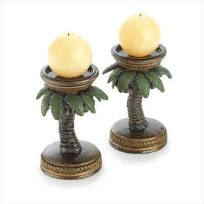 Set-Of-2-Coconut-Palm-Tree-Tropical-Island-Candle-Stick-Holders-0 100+ Coastal Themed Lamps