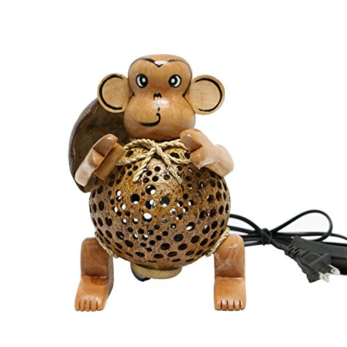 Wood monkey coconut shell table lamp mozeypictures Choice Image