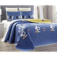3-Piece-Fine-printed-100-COTTON-Nautical-Quilt-Set The Best Nautical Quilts and Nautical Bedding Sets